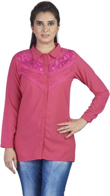 SOIE Women's Embroidered, Solid Casual Pink Shirt
