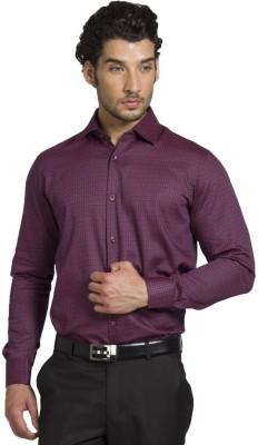 Klub Fox Men's Self Design Formal Maroon Shirt