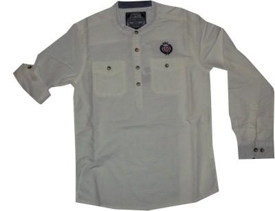 Bare Denim Boy's Solid Formal White Shirt