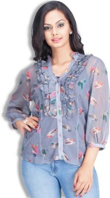 Colsa Women's Printed Casual Blue Shirt