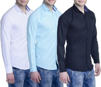 Aligatorr Men's Solid Formal Black, Brown, Blue Shirt