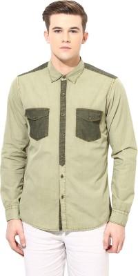 Velloche Men's Solid Casual, Festive Light Green Shirt