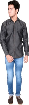 Shreebalajitraders Men's Printed Casual Denim Black Shirt