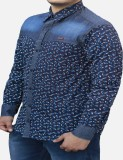 Yzade Men's Printed Casual Blue Shirt