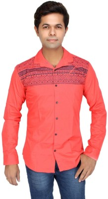 JG FORCEMAN Men's Striped Casual Red Shirt