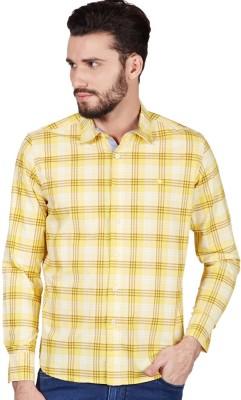 American Swan Men's Checkered Casual Yellow Shirt