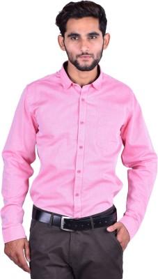 Cortos Men's Self Design Formal Pink Shirt