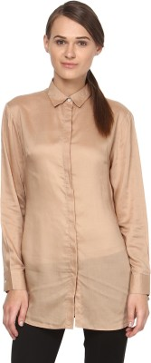 Annapoliss Women's Solid Casual Brown Shirt