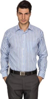 Indocity Men's Striped Formal Blue Shirt