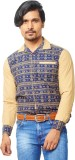 A Flash Men's Printed Casual Dark Blue S...