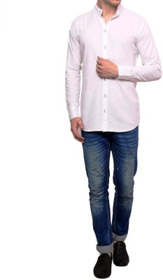 IDESIGN Men's Solid Casual White Shirt