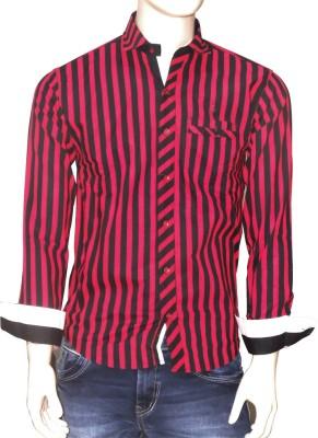 Exin fashion Men's Striped Casual Red, Black Shirt