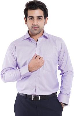 Mild Kleren Men's Self Design Formal Pink Shirt