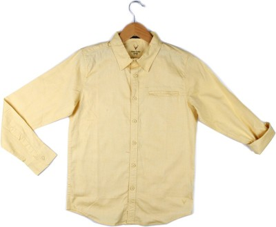 Allen Solly Boy's Solid Casual Yellow Shirt