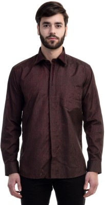 Future Plus Men's Self Design Casual Brown Shirt