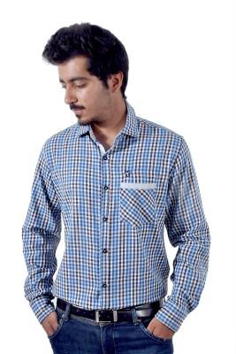 Tenor Men's Checkered Casual Blue, Brown Shirt