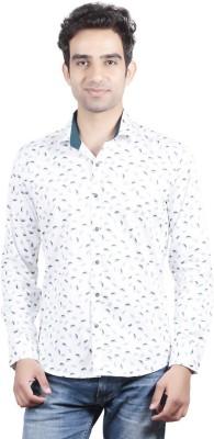 Valbone Men's Printed Casual White Shirt