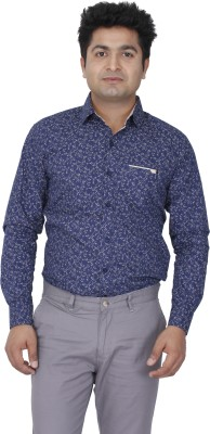 Aces Blue Men's Printed Casual Blue Shirt