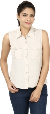 Eves Pret A Porter Women's Solid Casual Linen Beige Shirt