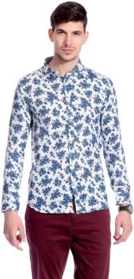 Goodkarma Men's Floral Print Casual White, Blue Shirt