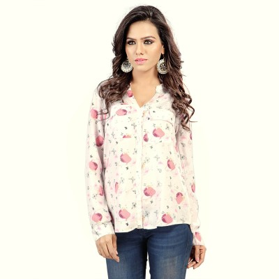 SFDS Women's Printed Party White Shirt