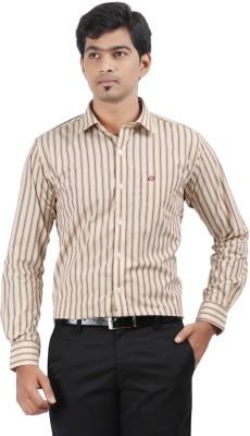 Stoff Men's Striped Formal Beige, Brown Shirt