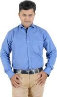 Horse Villa Formal Shirts (Men's) - Horse Villa Men's Solid Formal Blue Shirt