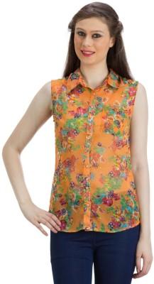 PRAGS Women's Floral Print Casual Orange Shirt