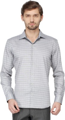 Mayank Modi Men's Printed Casual Grey Shirt
