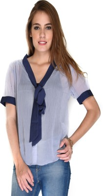 Hermosear Women's Solid Casual Light Blue Shirt