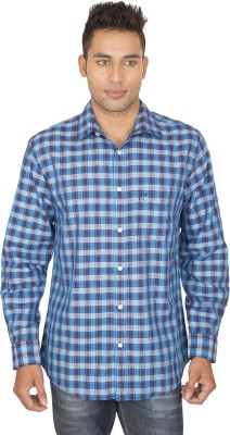 SmartCasuals Men's Checkered Casual Blue Shirt
