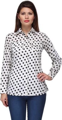 A Click Away Women's Polka Print Casual White, Black Shirt