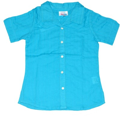 Young Birds Girl's Solid Casual Blue Shirt