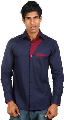 Nimya Men's Solid Casual Dark Blue Shirt