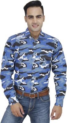 Unixx Men's Printed Casual Blue Shirt