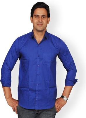 Mc-John Men's Solid Formal Dark Blue Shirt