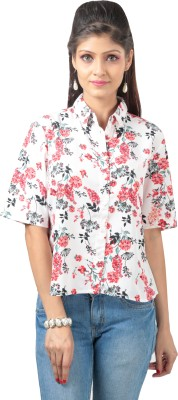 Advika Women,s Floral Print Casual Black, White Shirt