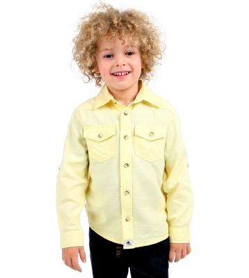 Cherry Crumble California Boy's Solid Casual Yellow Shirt