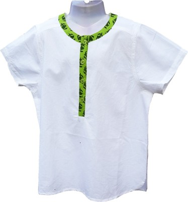 Aummade Boys Solid, Printed Casual Green, White Shirt