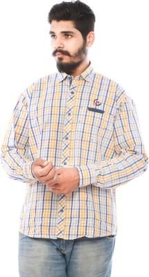LWW Men's Checkered Casual Yellow, Blue Shirt