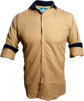 Qube Men's Self Design Casual Brown Shirt