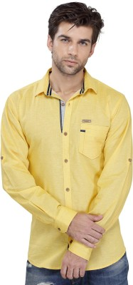 SEVEN STITCHES Men's Solid Casual Yellow Shirt