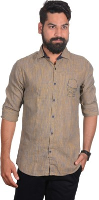 So Design Men's Solid Casual Brown Shirt