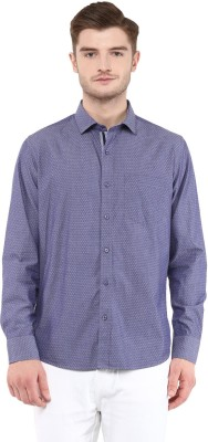 FUNK Men's Self Design Casual Blue Shirt