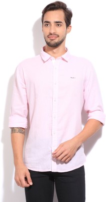 Pepe Jeans Men's Solid Casual Pink Shirt