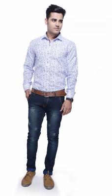 Jads Men's Geometric Print Casual White, Blue, Black Shirt