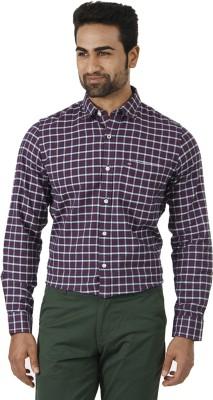 London Fog Men's Checkered Formal Purple, White Shirt