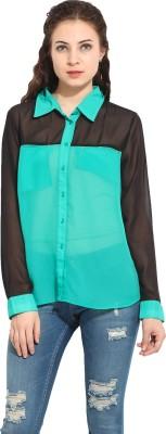 Instacrush Women's Solid Casual Green Shirt