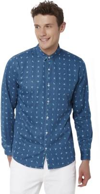 Chumbak Men's Printed Casual Denim Blue Shirt