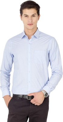 Kanva Men's Striped Casual Light Blue Shirt